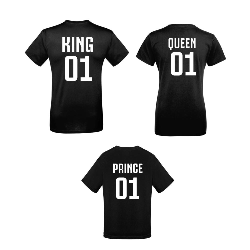 Set tricouri de familie King 01, Queen 01 si Prince 01 negru