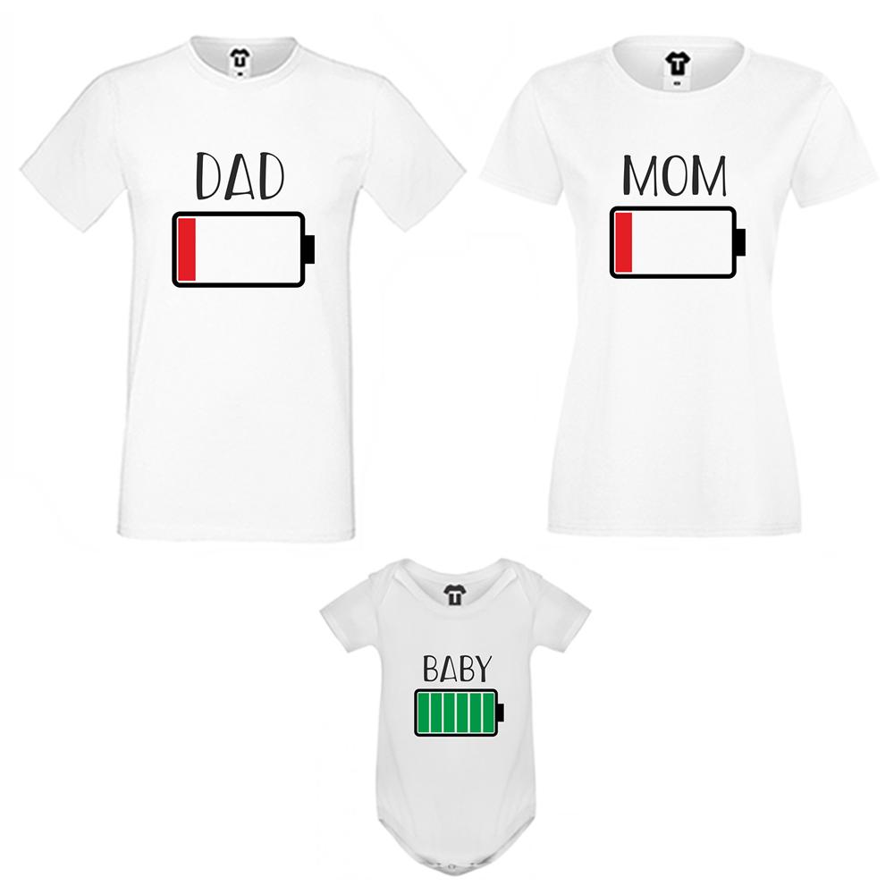 Set de tricouri pentru familie Battery Low  negru
