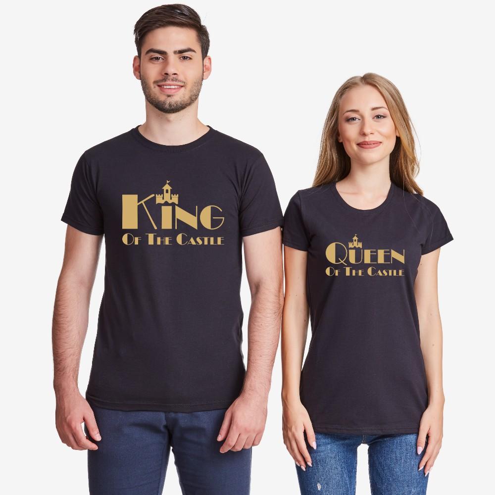Tricouri pentru cupluri pe alb sau pe negru King and Queen of the castle negru