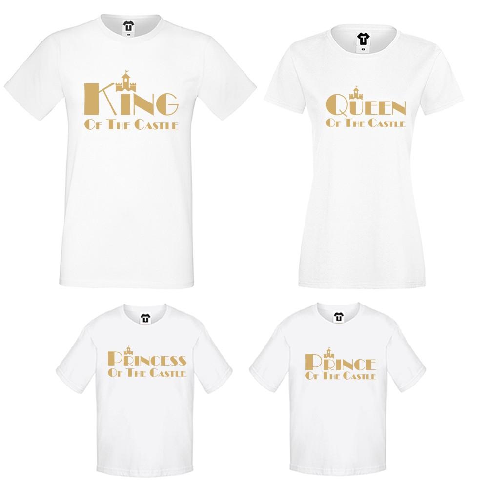 Set-uri de tricouri pentru familie pe alb sau pe negru King, Queen, Prince and Princess of the castle