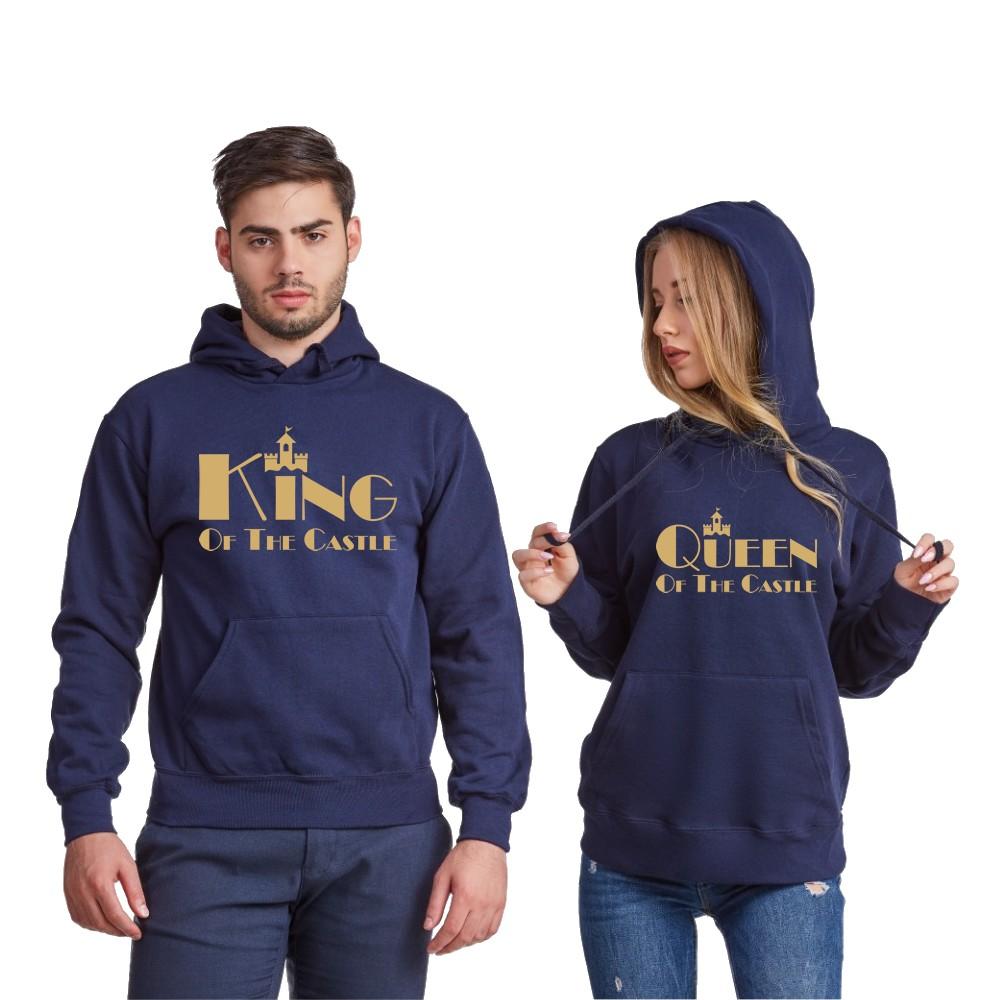 Hanorace pentru cupluri pe gri sau pe albastru inchis King and Queen of the castle gri