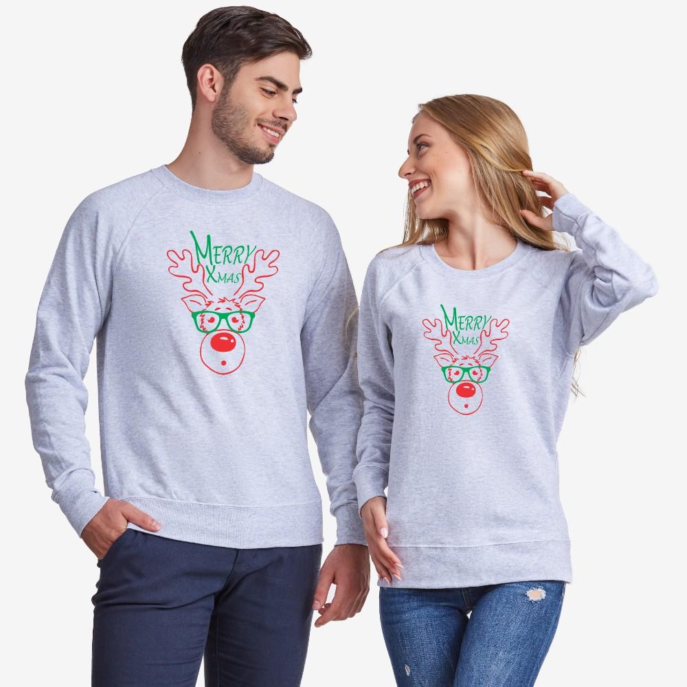 Bluze pentru cupluri pe gri sau albastru inchis Merry Christmas Couple