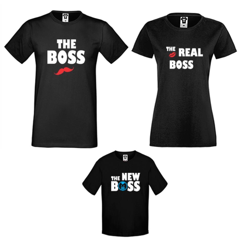 Set-uri de tricouri pentru familie pe alb sau pe negru The Boss, The Real Boss and The New Boss Boy