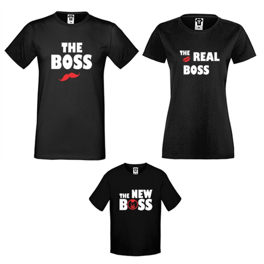 Set-uri de tricouri pentru familie pe alb sau pe negru The Boss, The Real Boss and The New Boss Girl
