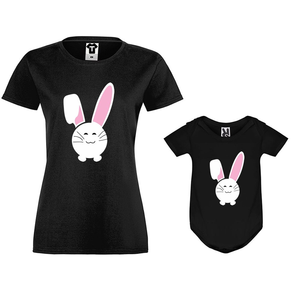 Set tricou de femei si body bebelusi Bunny Smile