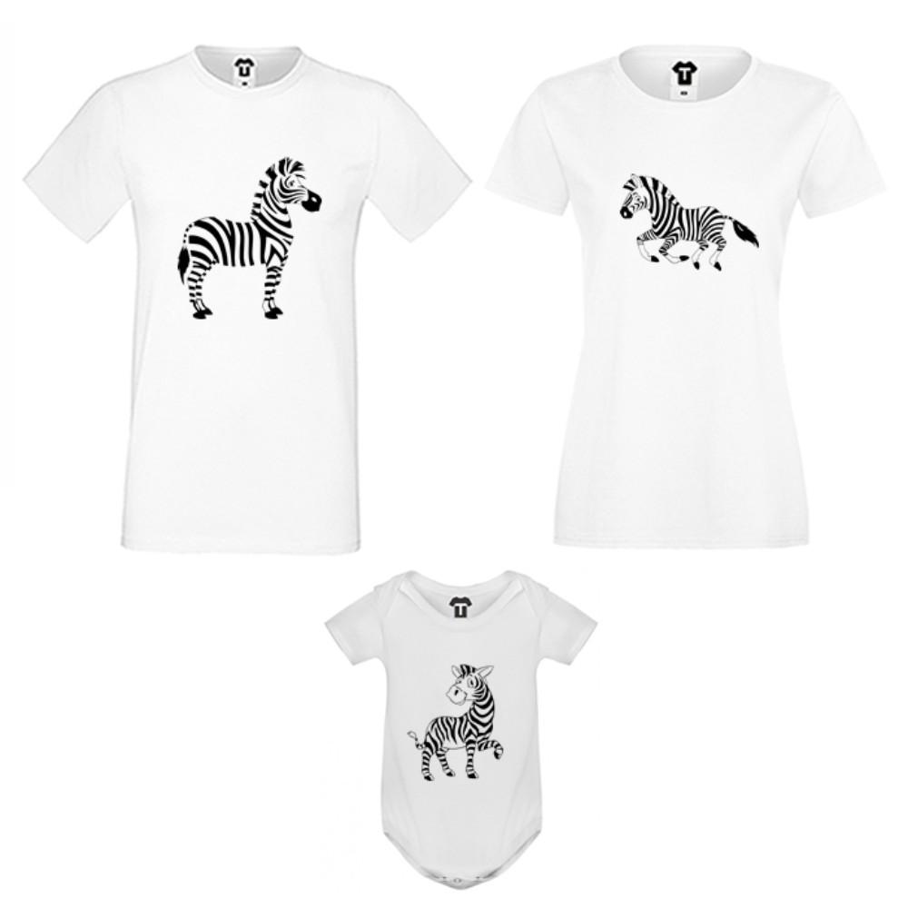 Set pentru familie pe alb sau negru Zebra Family