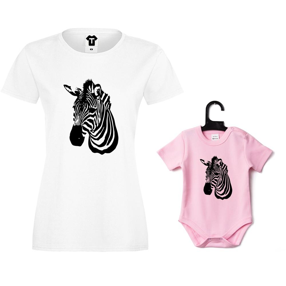 Tricou de dama si body de bebe Zebra