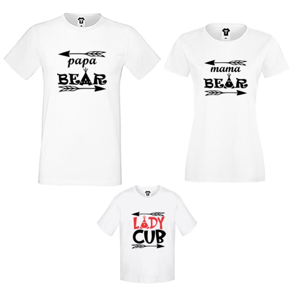 Set tricouri pentru familie pe alb sau negru Bear Family