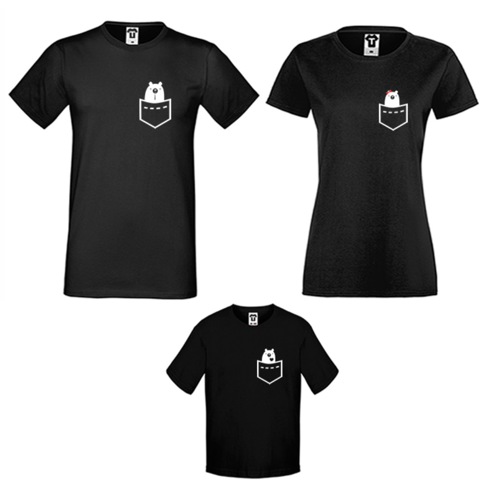Set tricouri pentru familie pe alb sau negru Pocket Bears