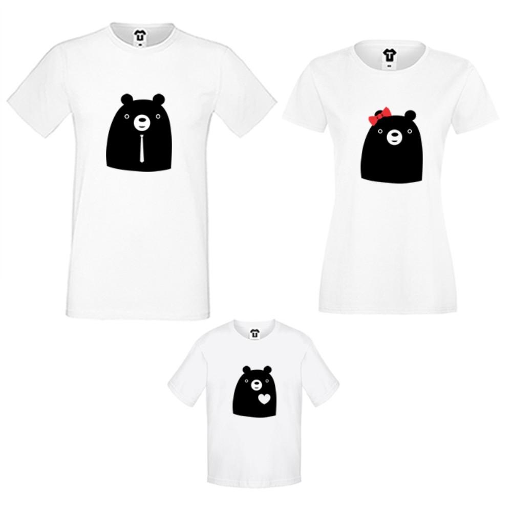 Set tricouri pentru familie pe alb sau negru Big Bears
