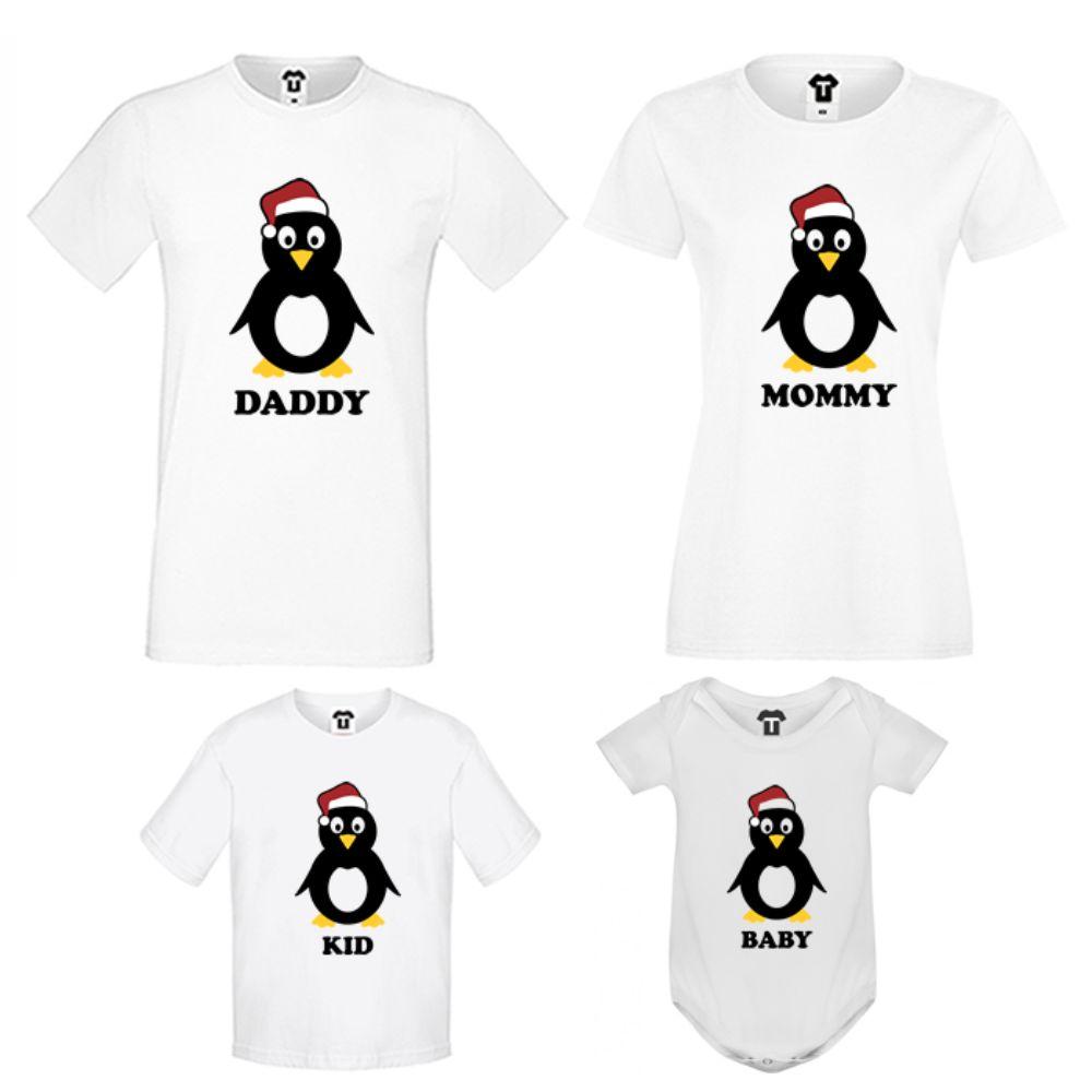 Set pentru familie pe alb Penguin Family