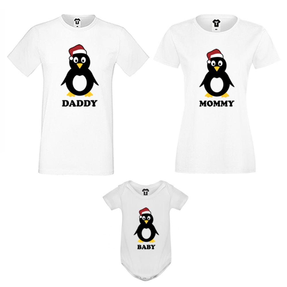 Set tricouri pentru familie pe alb Penguin Family