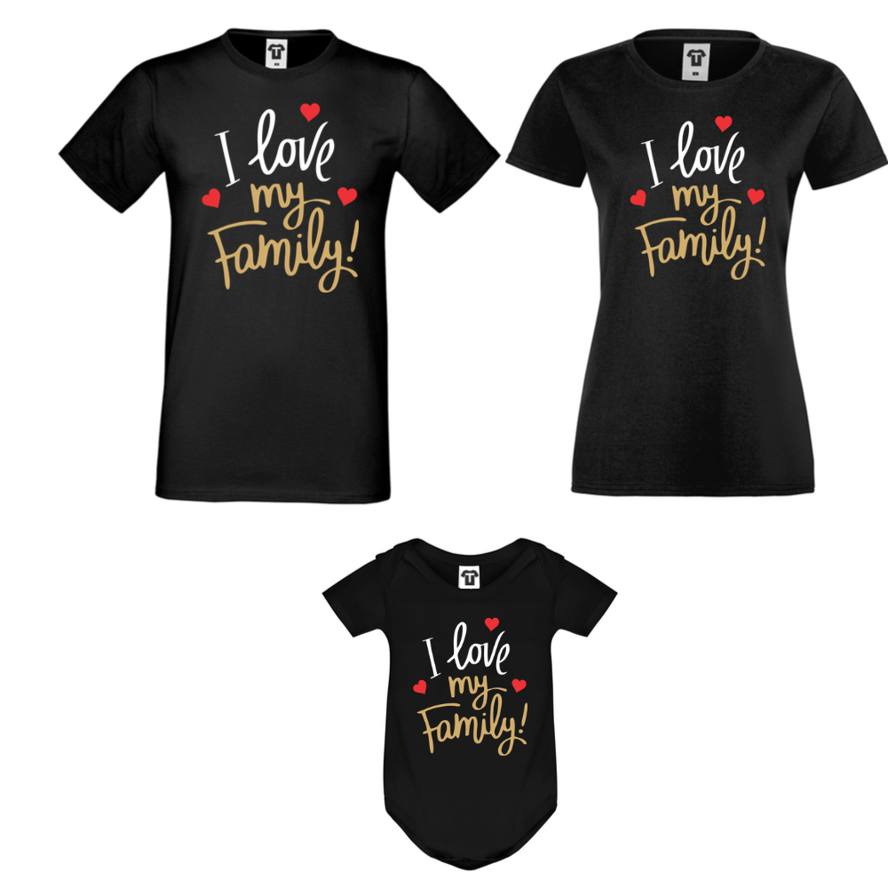 Set tricouri si body pentru familie pe negru I Love My Family