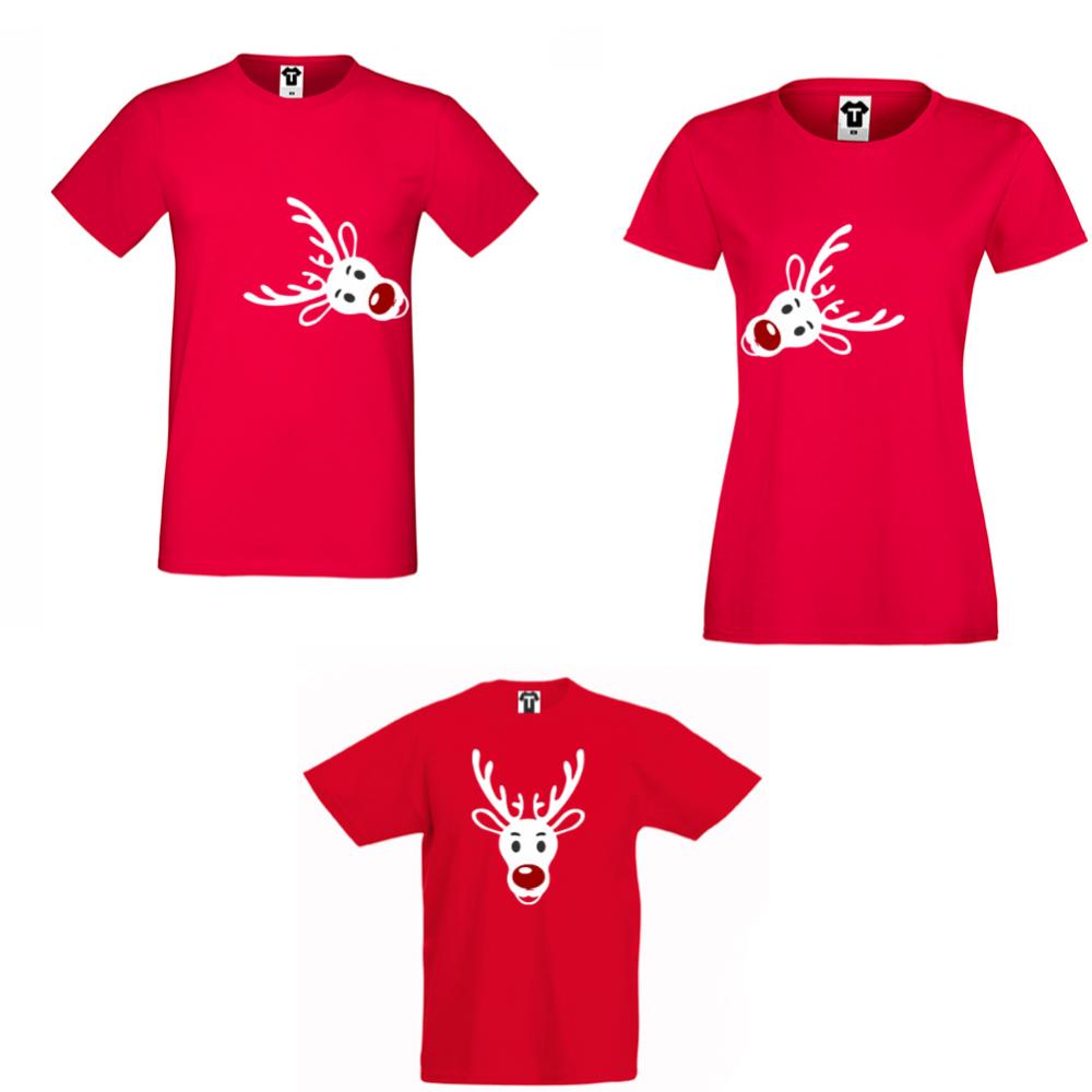 Set tricouri pentru familie pe rosu Rudolph