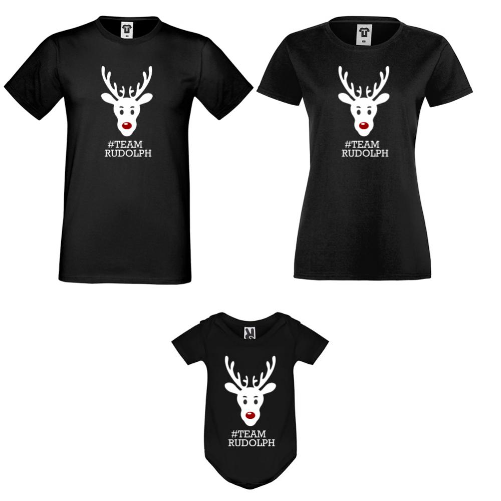 Set tricouri si body pentru familie pe negru #Team Rudolph