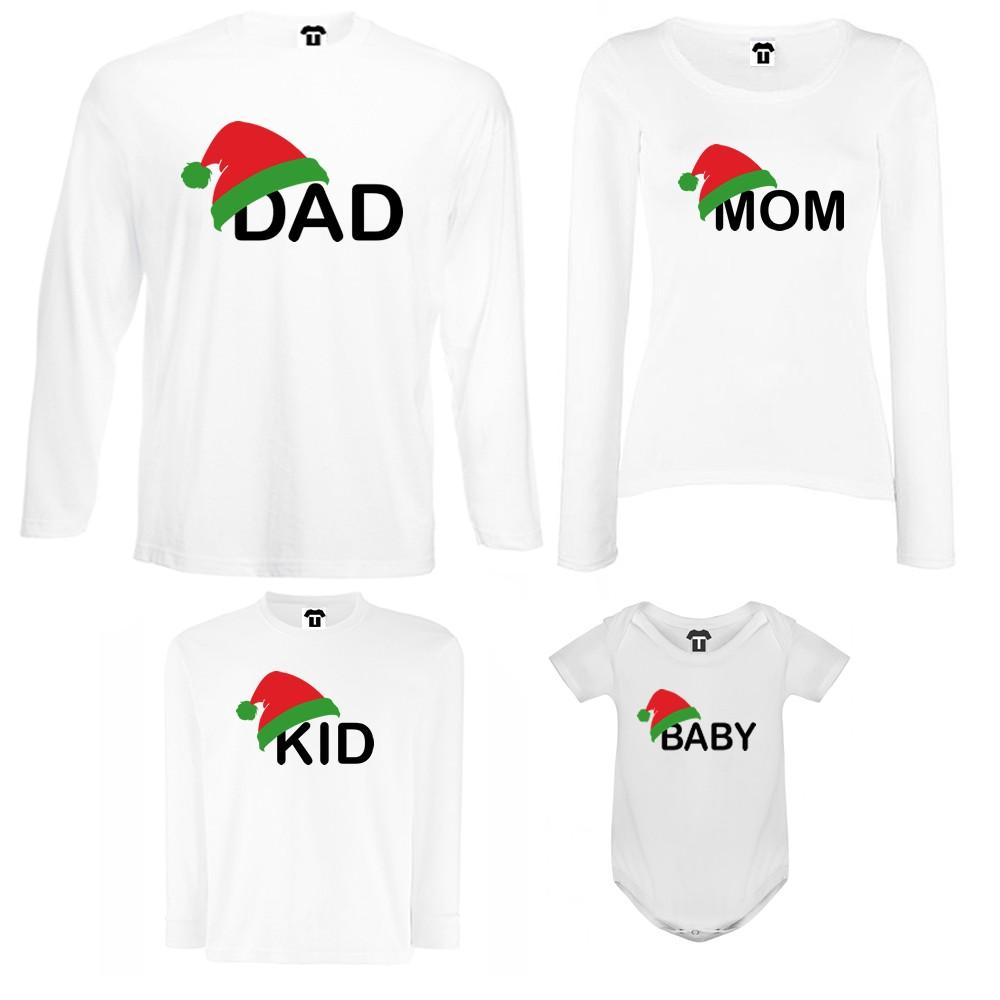 Set tricouri de familie cu maneca lunga si body pe alb sau negru Family Christmas Hats