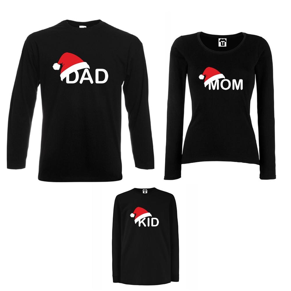 Set tricouri de familie cu maneca lunga pe alb sau negru Family Christmas Hats