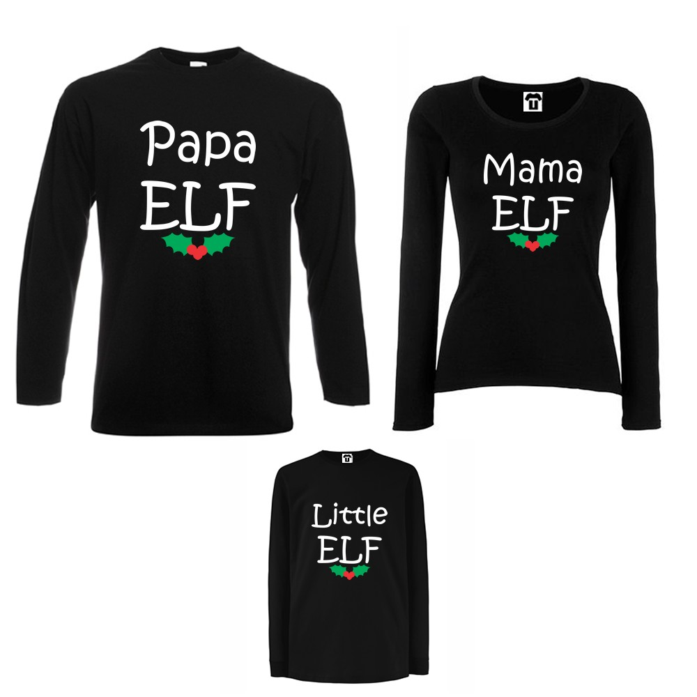 Set tricouri de familie cu maneca lunga pe alb sau negru Papa, Mama and Little Elf