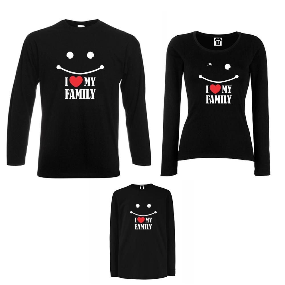 Set tricouri de familie cu maneca lunga pe alb sau negru I love my family