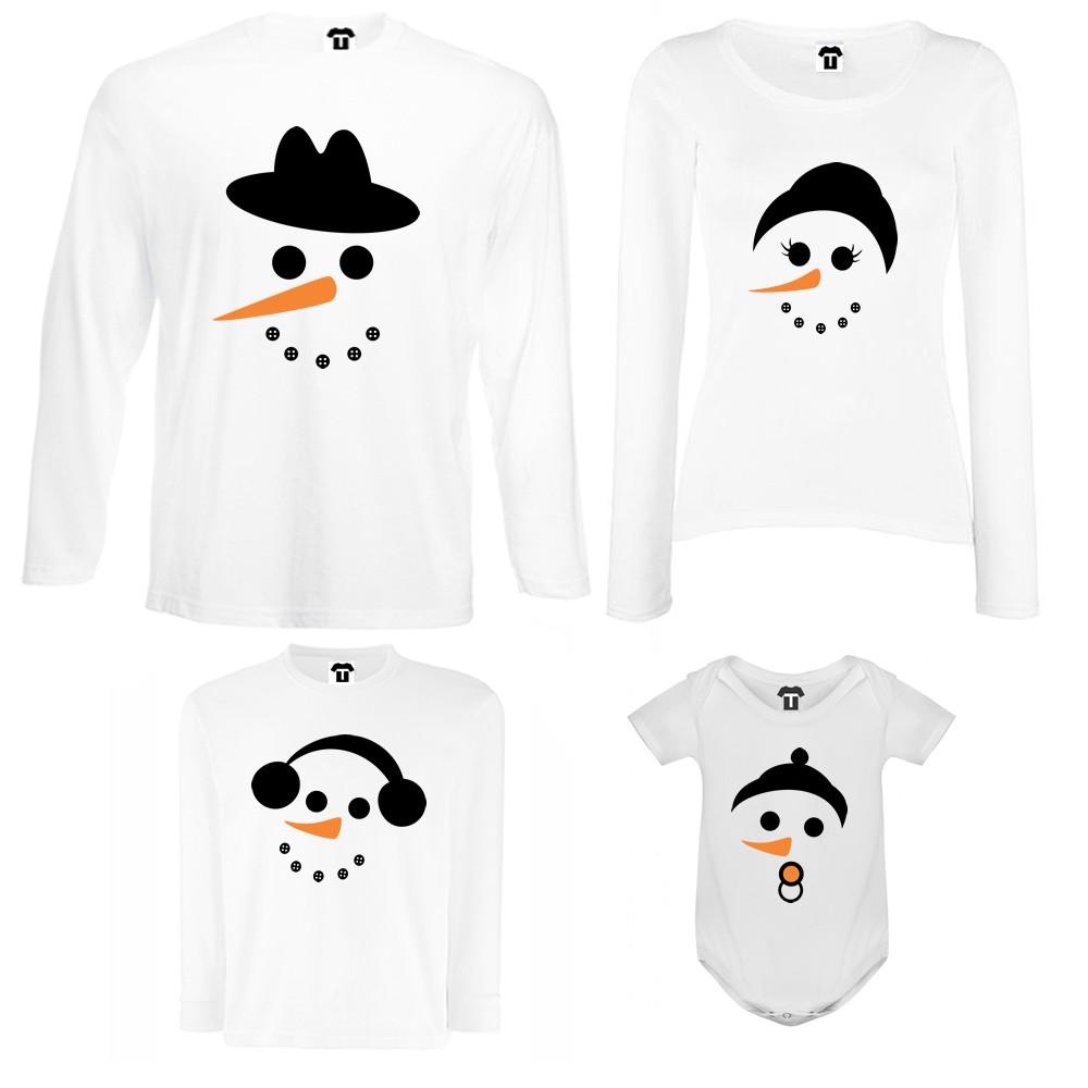 Set tricouri de familie cu maneca lunga si body pe alb sau negru Snow Family