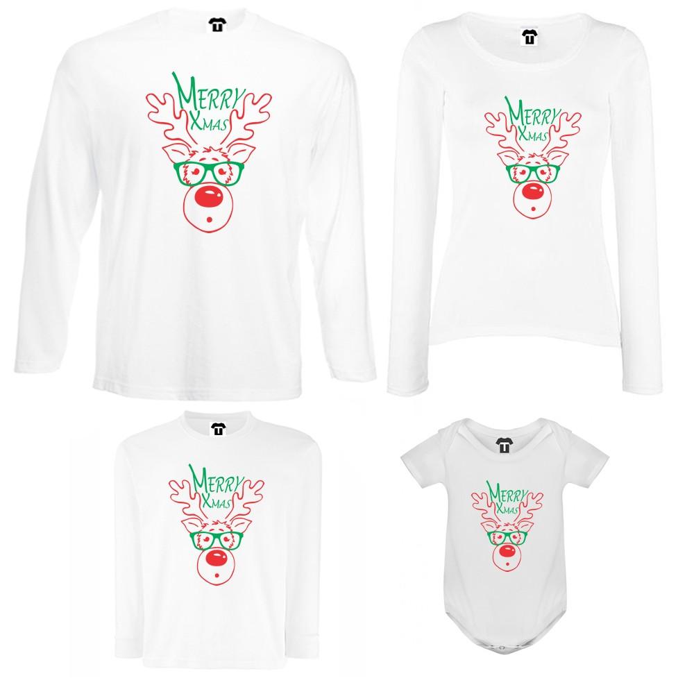 Set tricouri de familie cu maneca lunga si body pe alb sau negru Merry Christmas