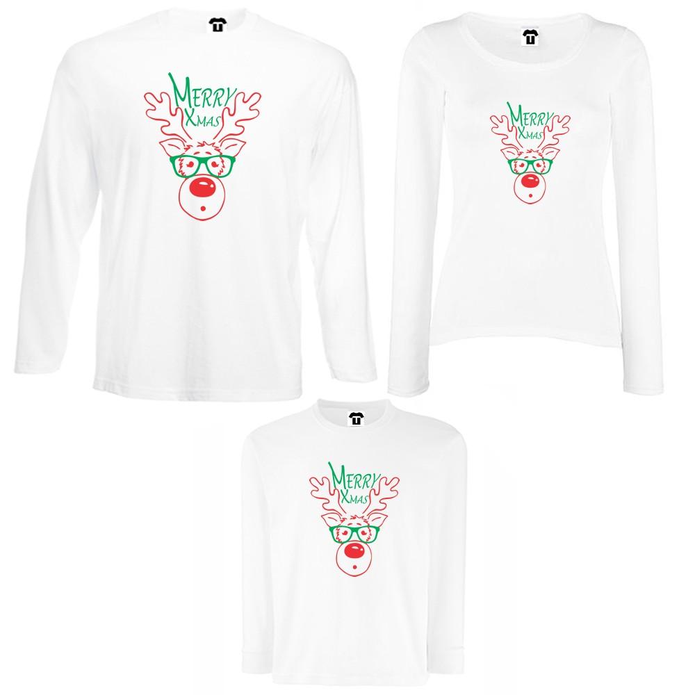 Set tricouri de familie cu maneca lunga pe alb sau negru Merry Christmas