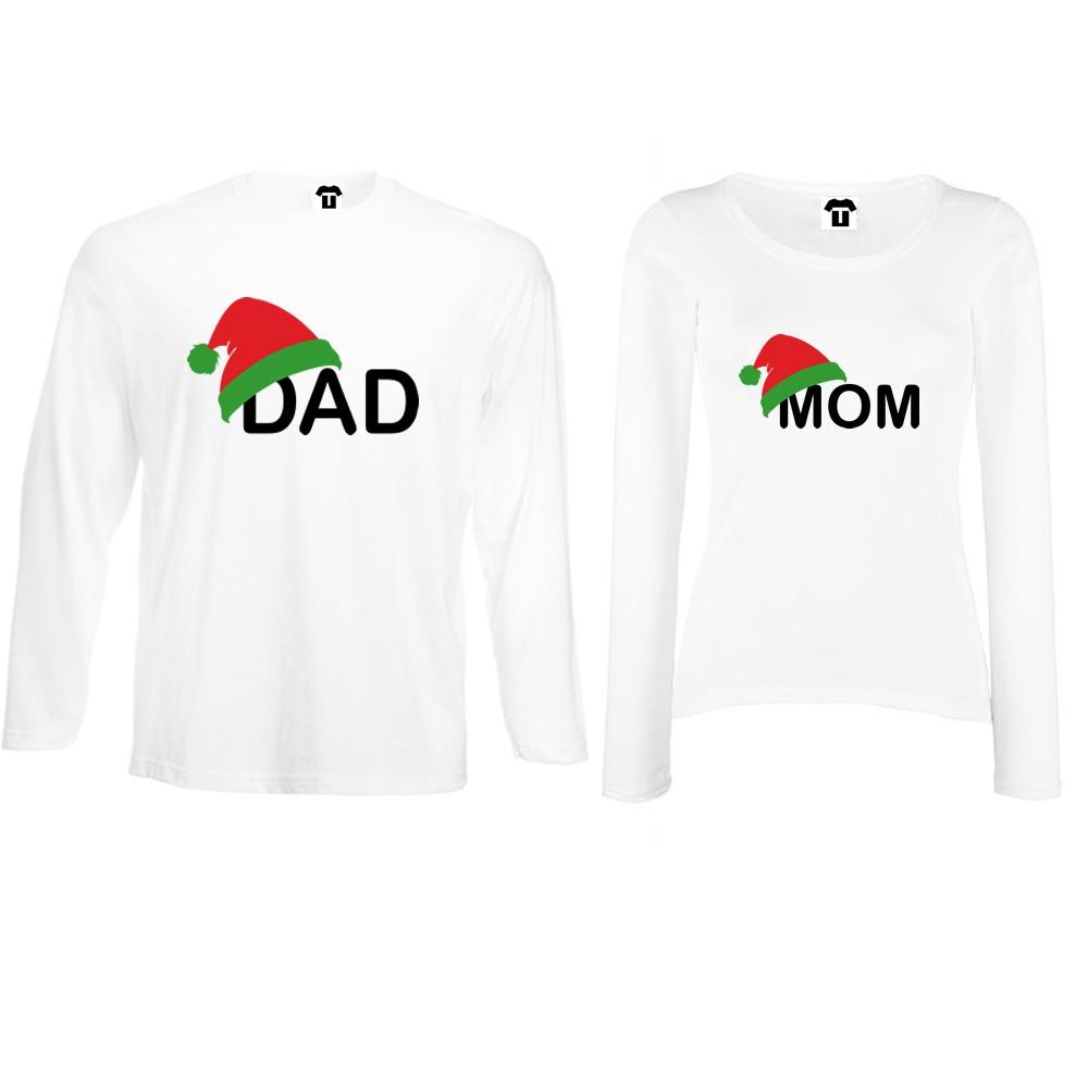 Set tricouri pentru cupluri cu maneca lunga pe alb sau negru Family Christmas Hats