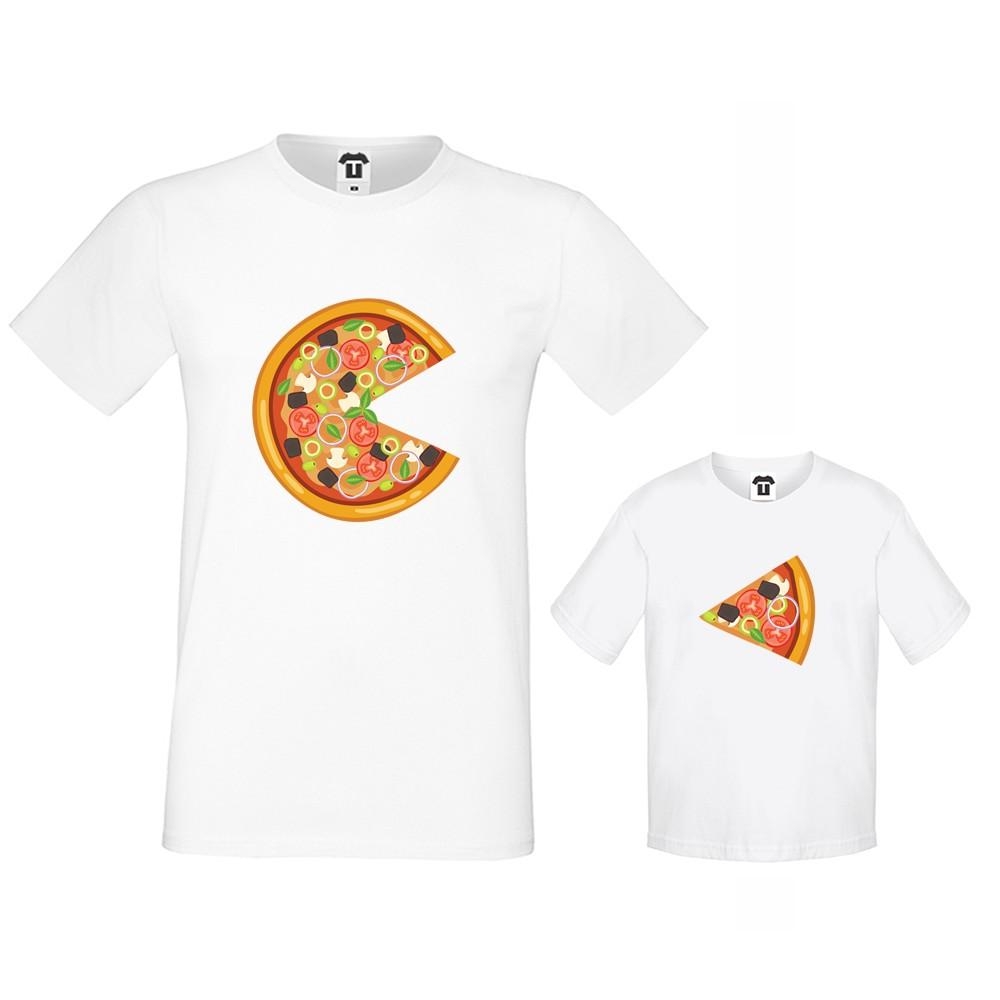 Set tricouri pentru tata si copil Pizza Slices