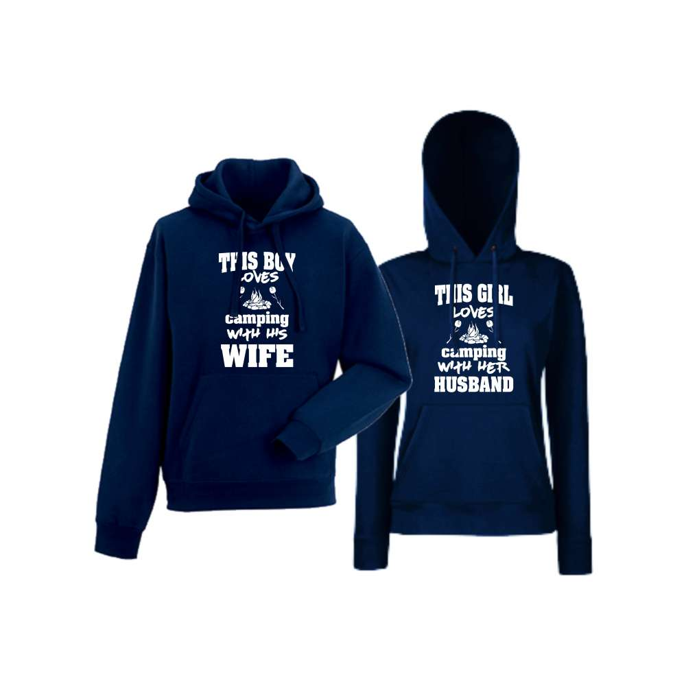 Hanorace pentru Cupluri Camping Boy loves his wife navy