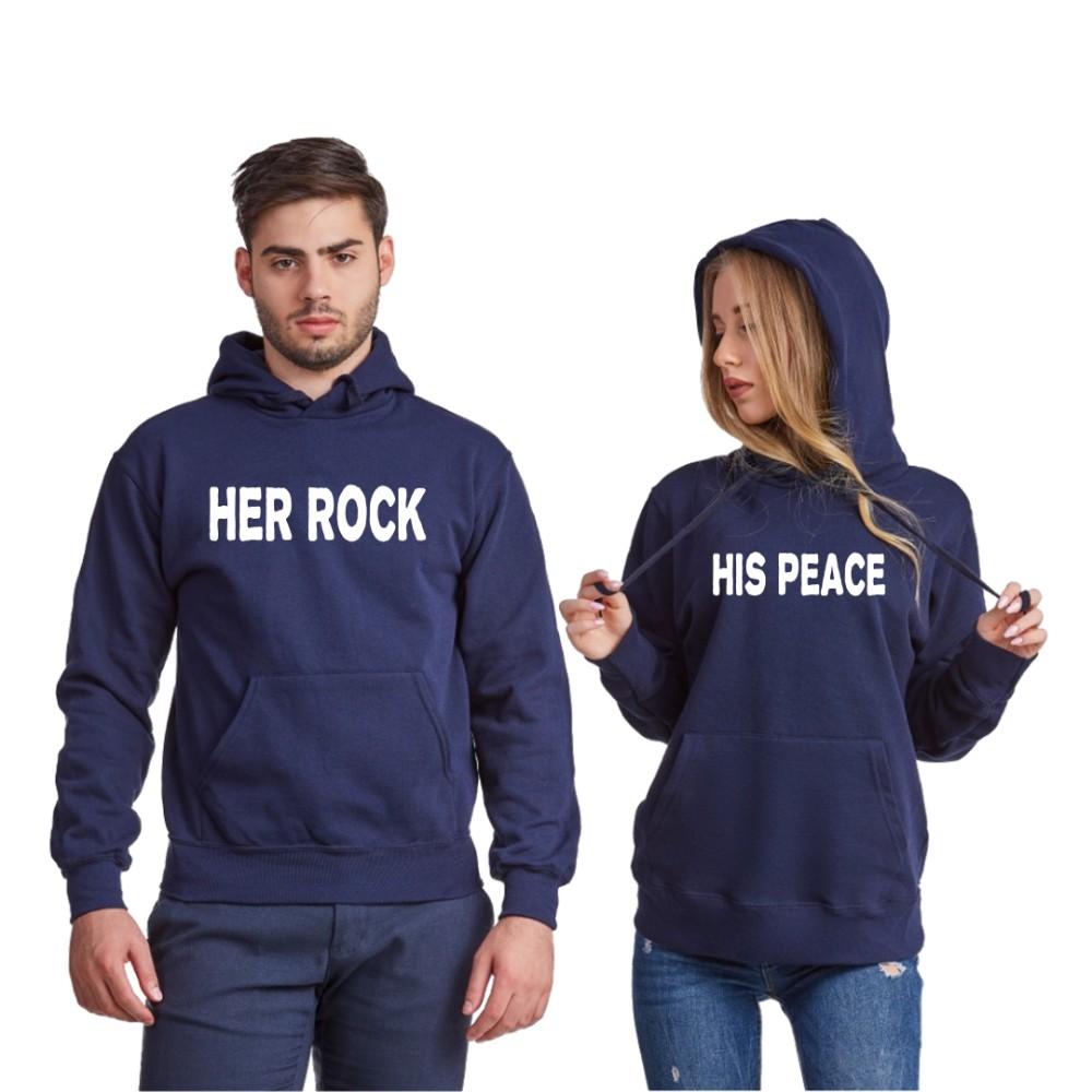 Hanorace pentru cuplu Her Rock and His Peace albastru inchis