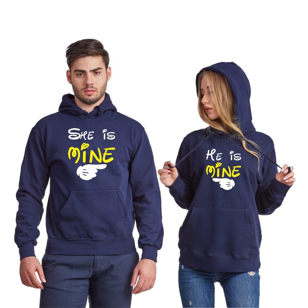 Hanorace pentru cupluri pe gri sau pe albastru inchis He is mine - She is mine