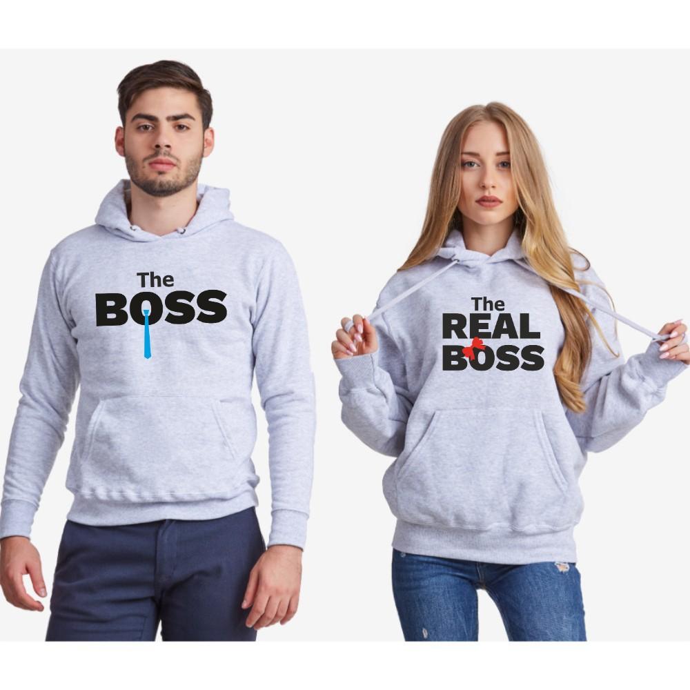 Hanorace pentru cuplu The Real Boss Tie 2019 gri