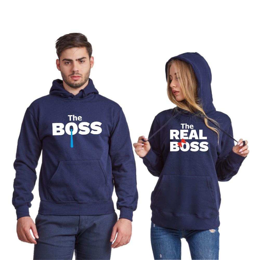 Hanorace pentru cuplu The Real Boss Tie 2019 albastru inchis