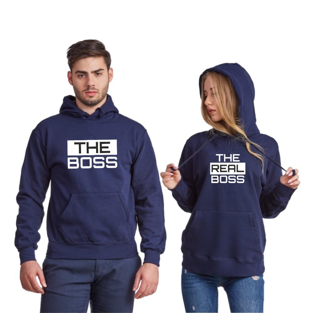 Hanorace pentru cuplu The Real Boss 2019 albastru inchis