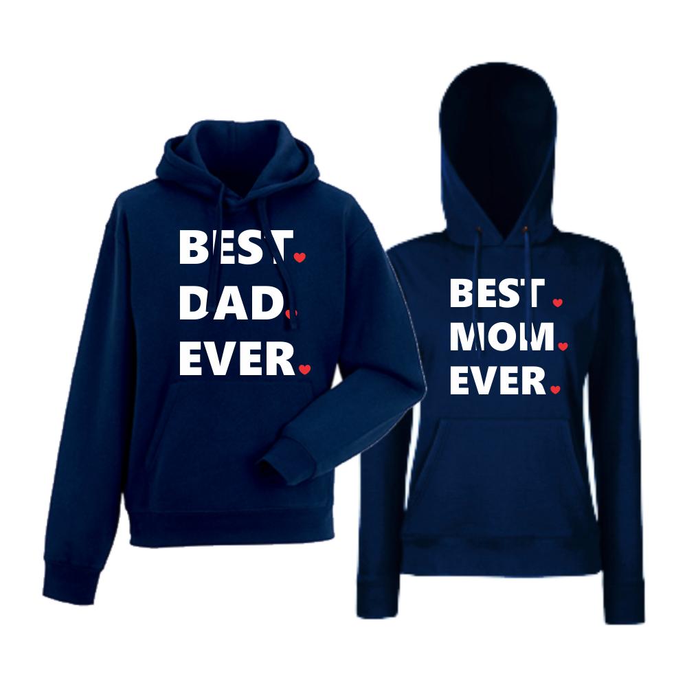 Set hanorace pentru cupluri albastru inchis Best Dad and Mom