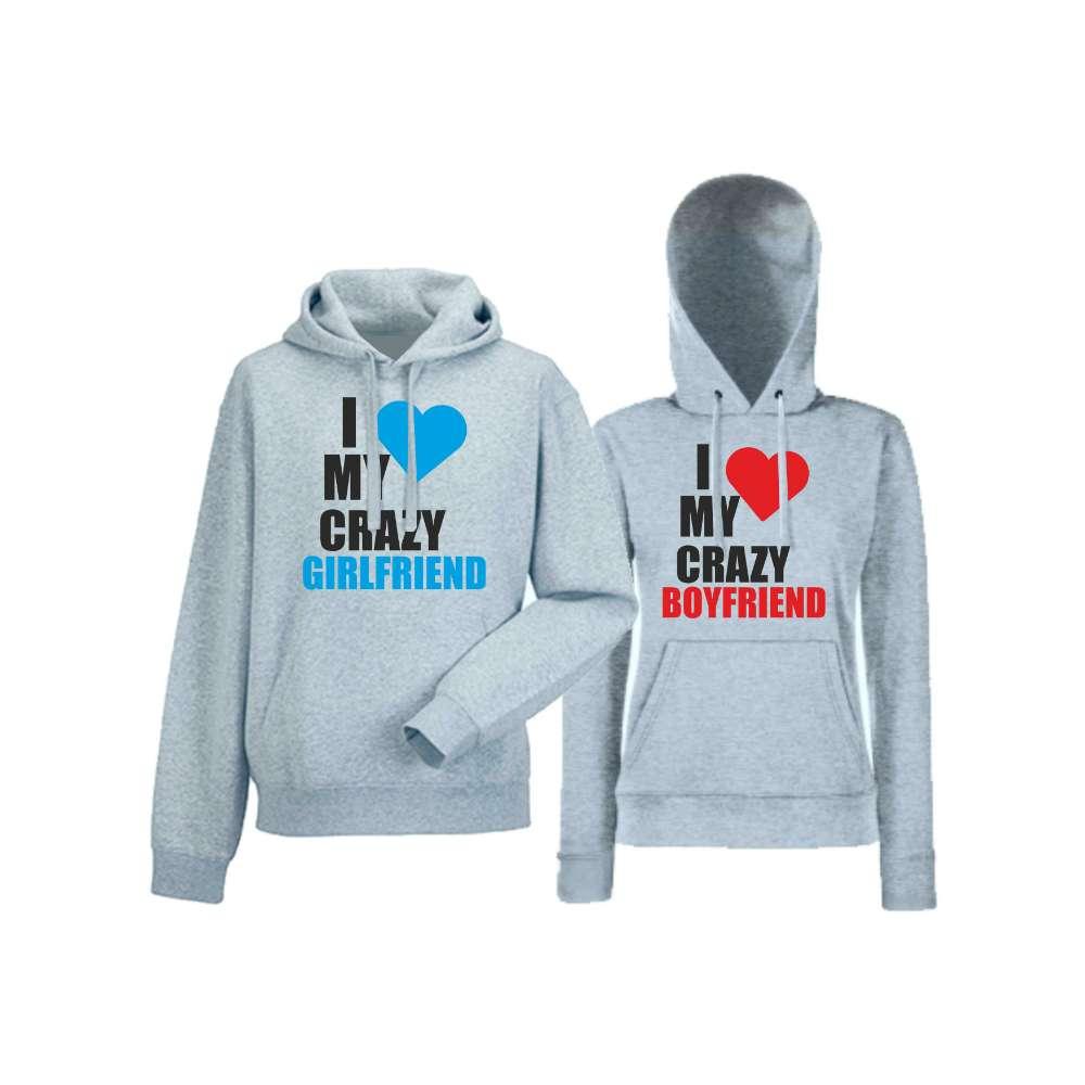 Hanorace pentru Cupluri I Love My Crazy