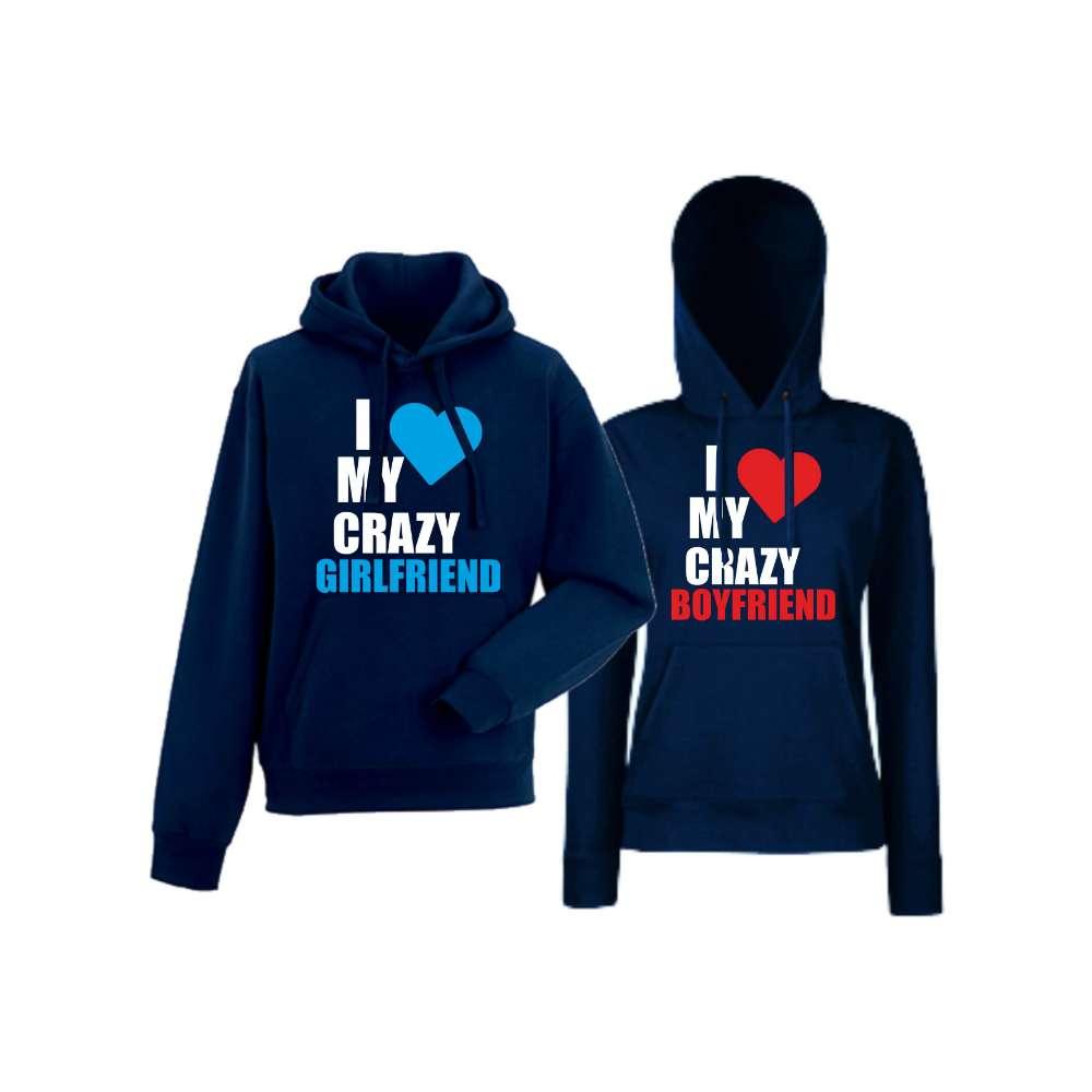 Hanorace pentru Cupluri I Love My Crazy navy