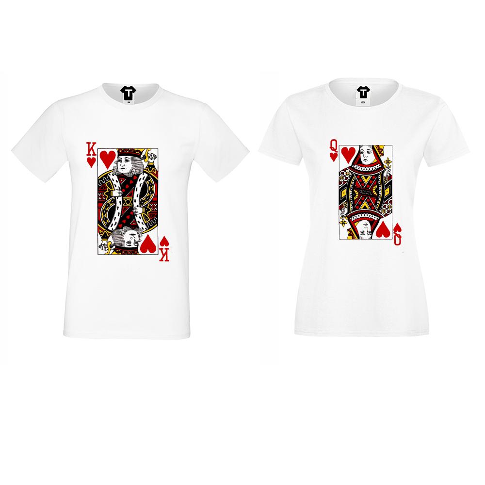 Tricouri pentru cupluri King Queen Cards