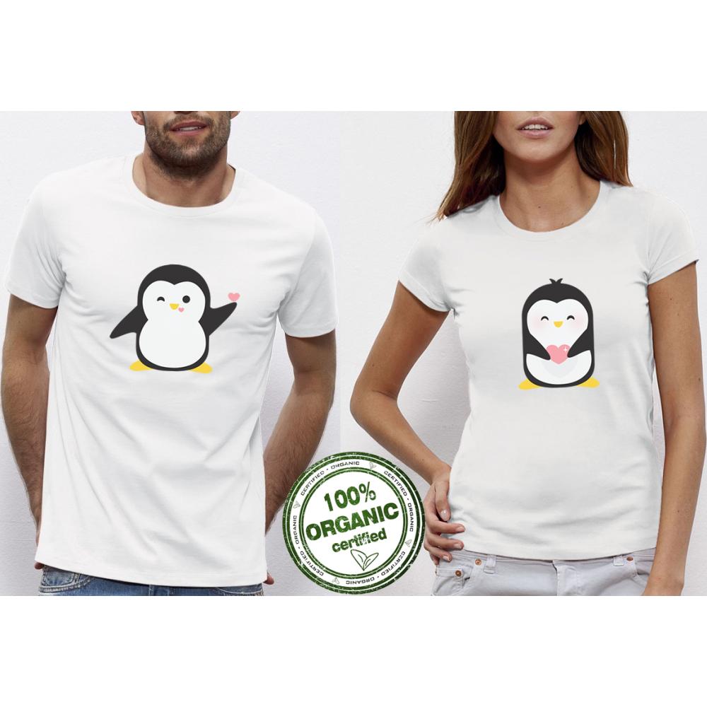 Tricouri pentru cupluri alb Penguin Love