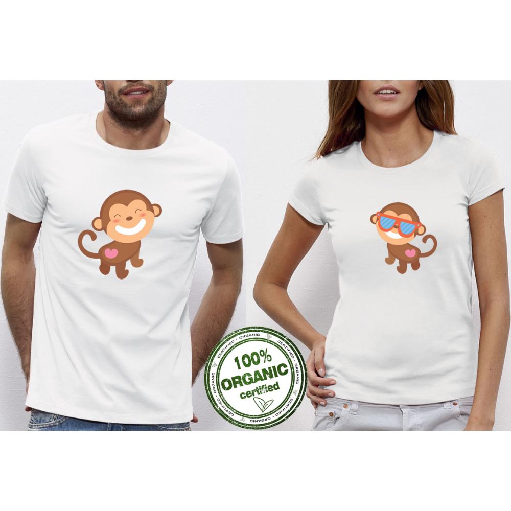 Tricouri pentru cupluri Monkey in Love alb