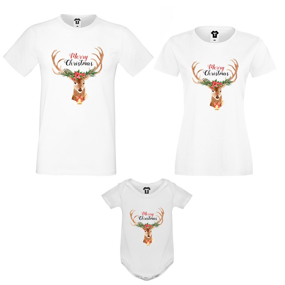 Set tricouri si body pentru familie Merry Christmas Deer Family