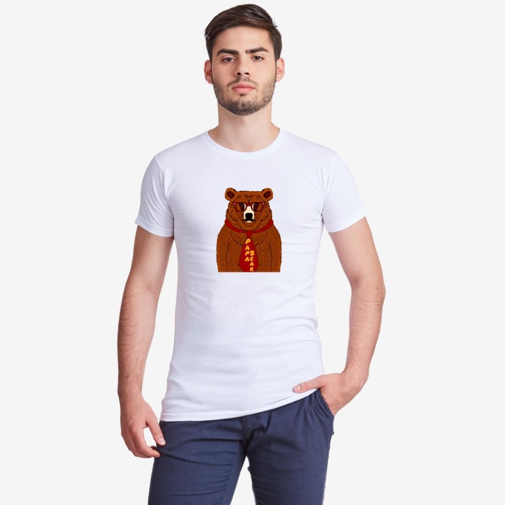 Tricou de barbat cu imprimeu Papa Bear Animated