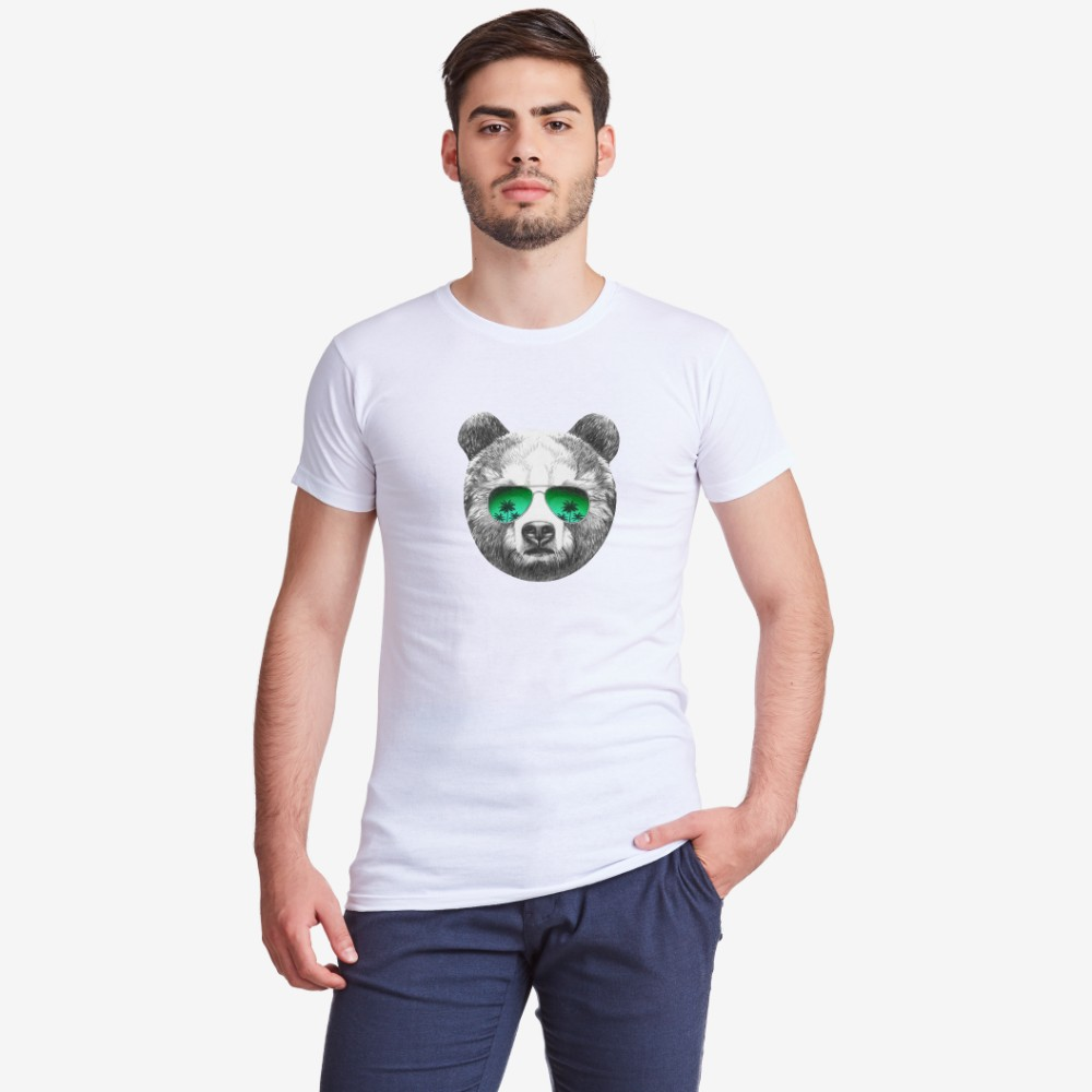 Tricou de barbat cu imprimeu Bear with Sunglasses
