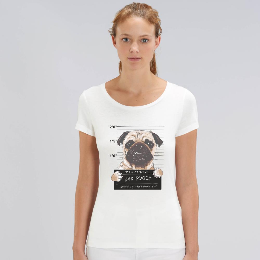 Tricou de femei alb din bumbac organic Bad Puggy