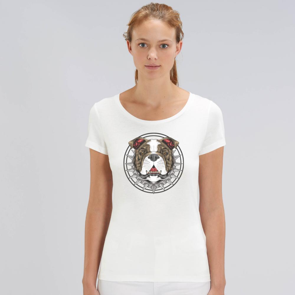 Tricou de femei alb din bumbac organic Beast Dog