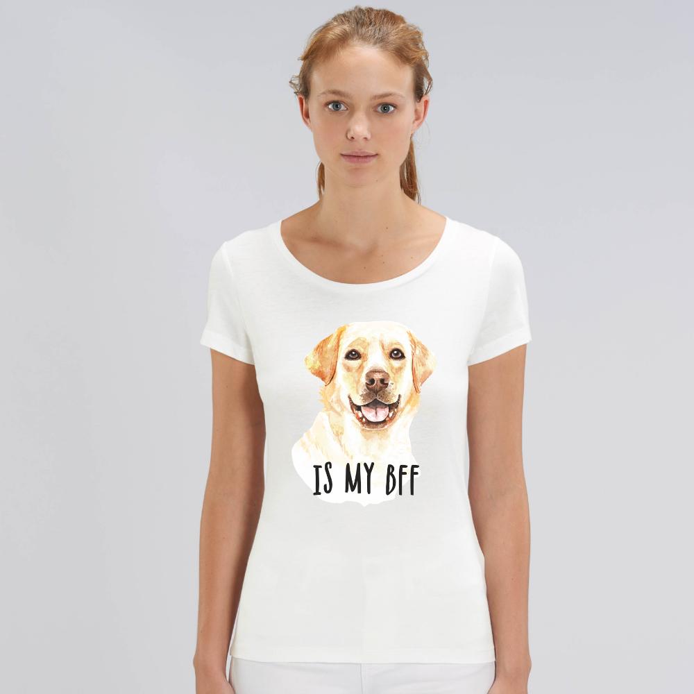 Tricou de femei alb din bumbac organic Dog BFF