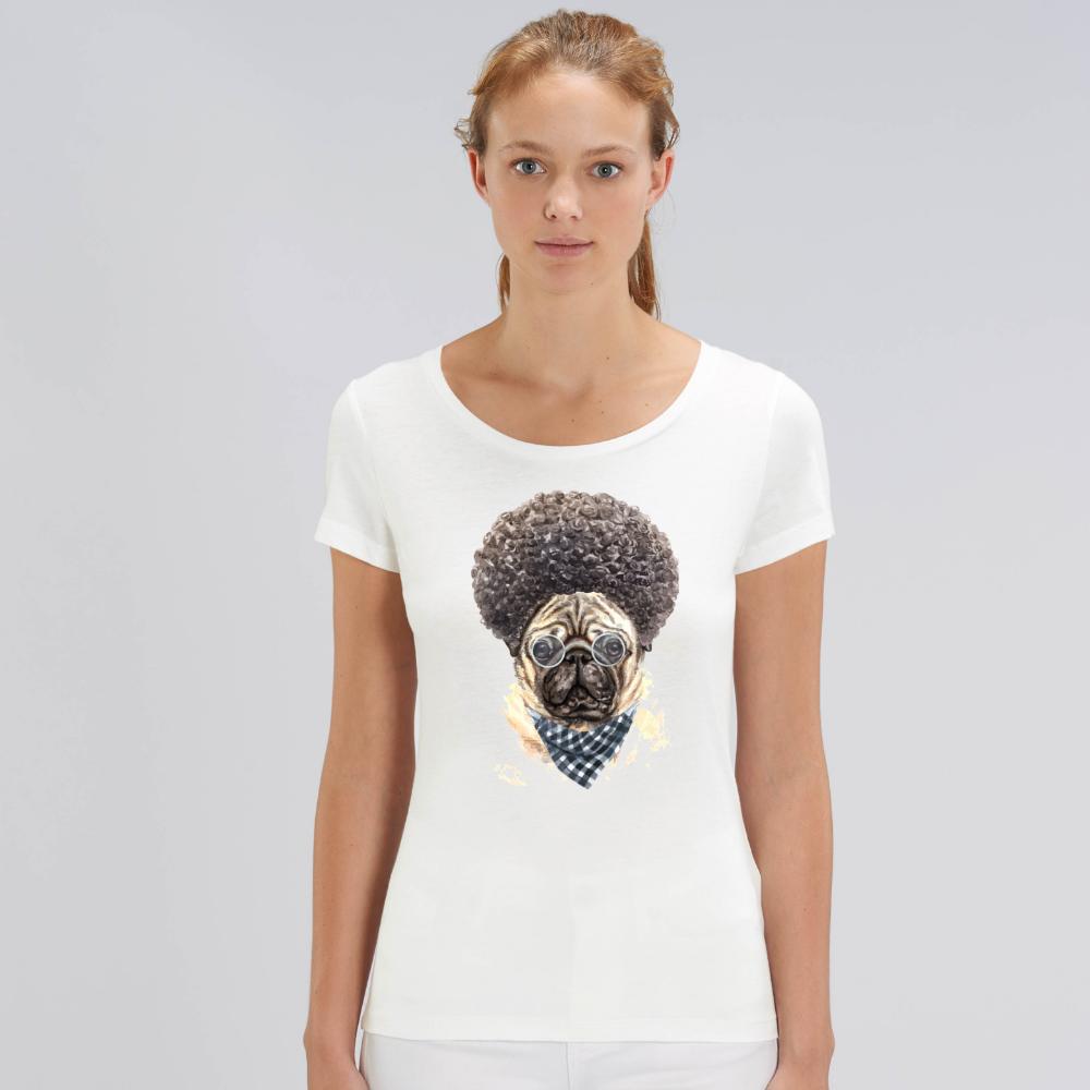 Tricou de femei alb din bumbac organic Afro Dog