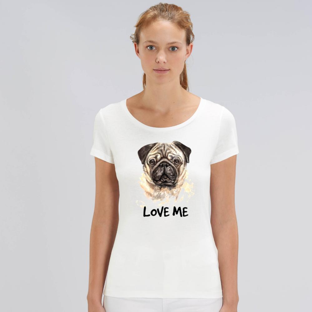Tricou de femei alb din bumbac organic Love me Dog