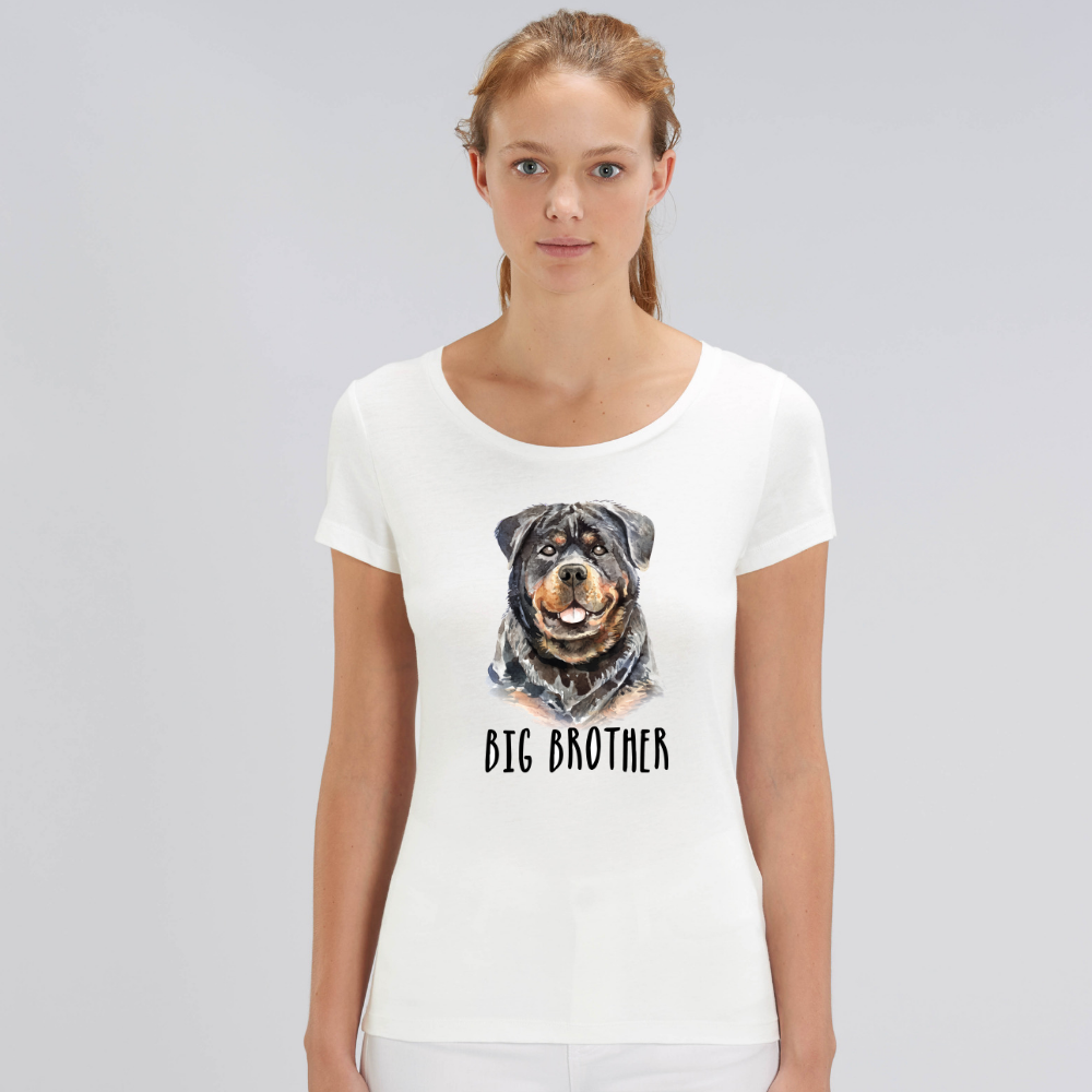 Tricou de femei alb din bumbac organic Dog Big Brother