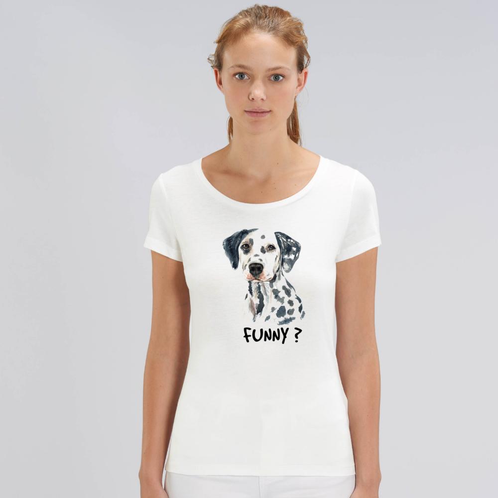 Tricou de femei alb din bumbac organic Funny Dog
